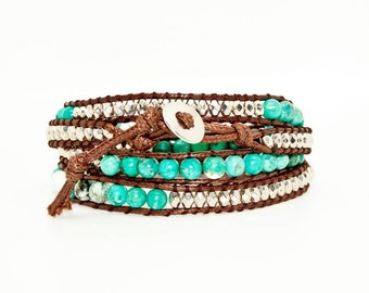 Mottled Turquoise and Silver Beads on Tan Leather- Wrap Bracelet