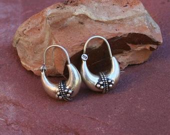 Hippy Vintage Style Sterling Silver Earrings