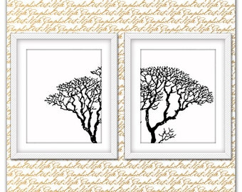 Tree branches wall decor, Nature, Modern wall art, Tree print, Tree Wall Art, Tree Art Minimalist, Black and white print, Nature wall decor