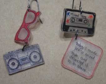 80's mixed tape earrings