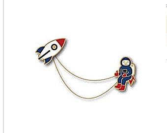 enamel pin rocket pins astronaut in space pin cute interstellar pin creative brooch pin metal pins Lapel Pin Brooch Planet