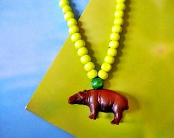 Children's jewelry with colored wooden beads and little hippo animal Necklace.kids Necklace, Children Accessorie,Girls Jewelry