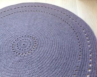 Wool Flour round rug - purple