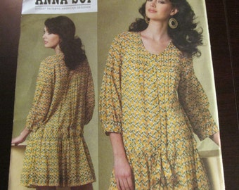 Vogue 1177 American Designer Anna Sui Sewing Dress and Slip Pattern Size 16 18 20 22 UNCUT V1177