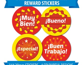 Spanish Language Work Stickers - 144 30mm Stickers - 4 Designs - Rewards, Praise