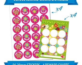 96 30mm Reward Stickers & 4 Reward Charts, Children, Teacher, Flowers Theme.