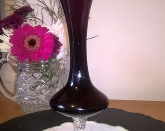 Amethyst Glass, Purple Glass, Retro Vase, 1970s Glass Vase