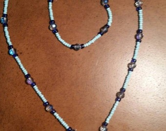 Lariat style necklace with matching bracelet. Blue & mint