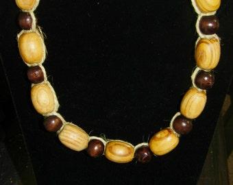 Wood bead, thick hemp necklace