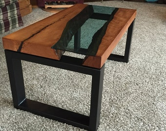 "Custom Handcrafted ""River Table"" solid cherry coffee table with metal base (Eyecatcher)"