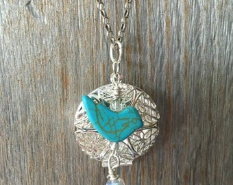 Turquoise Stone Birdie Bird Crystal Diffuser Necklace Sterling Silver