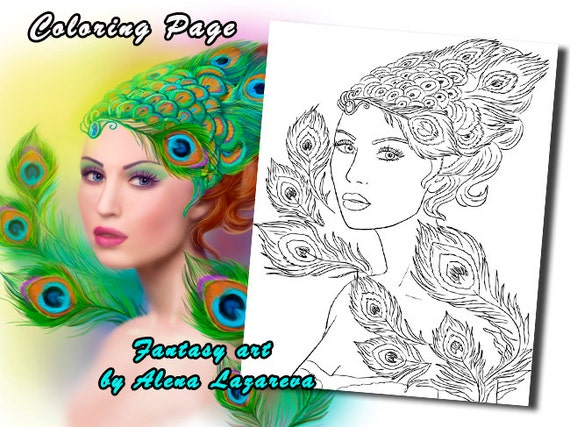 Coloring Page, Beautiful Fashion spring woman Peacock