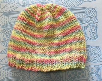 Pastel coloured baby hat