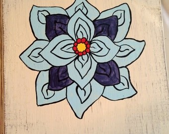 Flower painted on wood