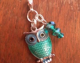 Teal Owl zipper charm