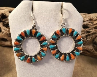 ON SALE Vintage Navajo Turquoise And Spiny Oyster Shell Dangle Earrings