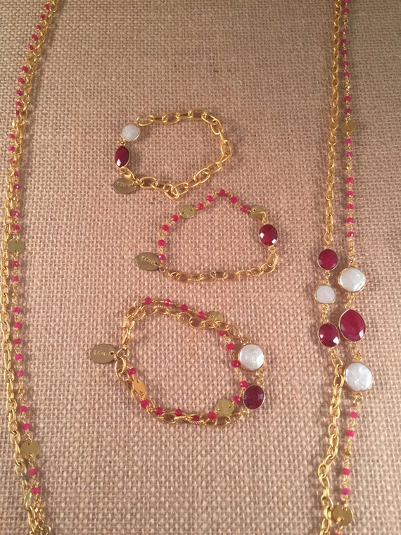 Ruby Beaded and Link Chain Bracelet,Ruby Stone,22k Gold Plated, 7 inches-Charm, Birthstone Jewelry, Stackable, GRANADA