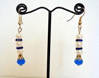 Wonderful Royal Blue Swarovski Crystals White Pearls Handmade Earrings