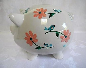 Personalized piggy banks, hand painted piggy banks,birds and flowers,childrens piggy banks,large piggy bank, ceramic piggy bank