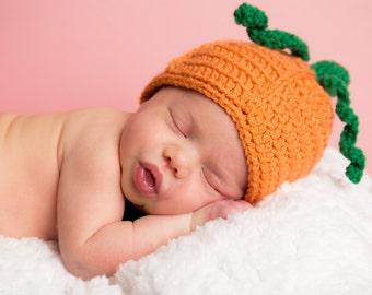 Crochet Baby Newborn  Pumpkin Halloween Costume Hat Accessory Gift Fall