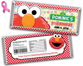 Sesame Street Elmo Candy Bar Wrappers Printed or Digital File, Elmo Candy Wrapper, Elmo Birthday Candy Wrapper, Elmo Hershey Bar Wrapper