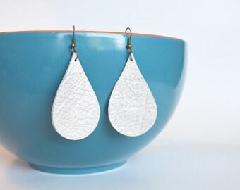 Large Leather Teardrop  Earrings:  Champagne Colored Leather Tear Drop  Earrings--Lightweight Earrings