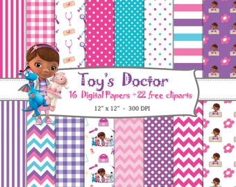 16 DIGITAL PAPERS Toy's Doctor (Doc McStuffins) + 22 free Cliparts, birthday