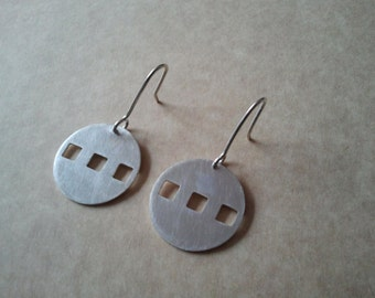 "Earrings Sterling Silver ""Three Squares"""
