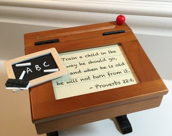 "Frame Vintage School Desk ""Train a child in the way he should go..."""