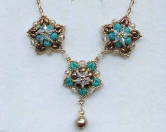 Crochet style turquoise and copper star necklace