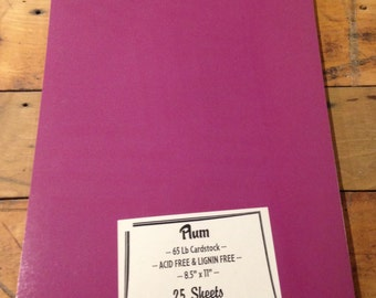 Purple PLUM Cardstock 65lb 8.5 x 11 25 sheets QUALITY