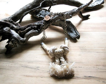 Big necklace, natural cotton rope. Rope necklace. cotton necklace