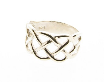 Sterling Silver 10mm Wide Celtic Band Ring - Sizes M - T