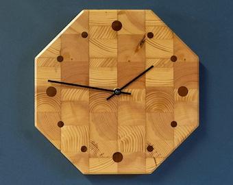 "10"" Butcher Block Kitchen Clock - Octagonal Wall Clock - Recycled Pine"