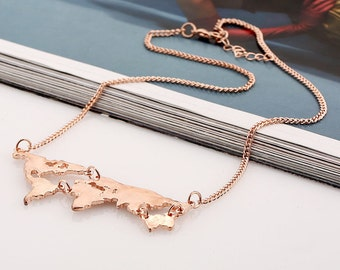 Travel Necklace, Rose-Gold, World Map Necklace, Jewelry
