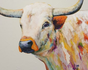 Longhorn steer art print//Texas longhorn art print//Longhorn bull//Longhorn cattle art print//Longhorn cow wall decor//Western farm animal