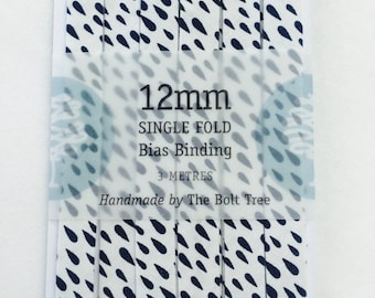 12mm Single Fold Bias Binding - Raindrops in Storm
