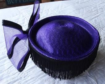 Purple Pillbox Hat with Black Fringe and Big Purple Bow