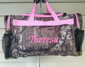 Pink Camo Duffle Back, Personalized duffle bag, Luggage, Camping