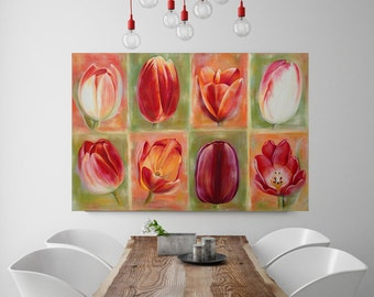 Tulips, flowers, original oil painting