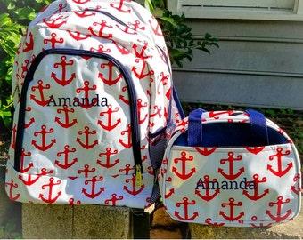 Personalized bookbag, monogram bookbag, Anchors back pack, Anchors book bag, back to school