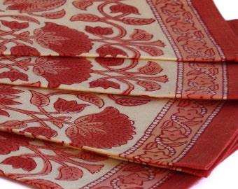 Indian printed bohemian napkins with lotus flowers