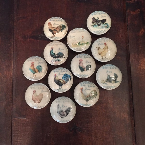1.5 Inch,roosters,chickens, Cabinet Knobs, Drawer Pulls