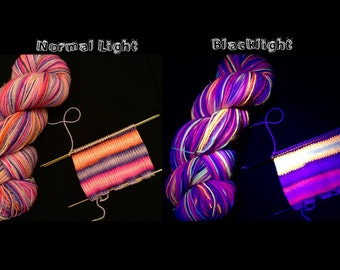 Incendiary: Hand Dyed Gradient Self Striping Blacklight Sock Yarn