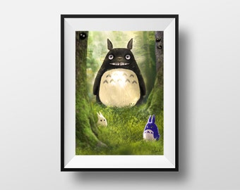 My neighbor Totoro - digital artwork reproduced on A4 photo paper poster