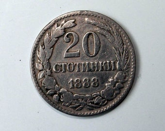 ON SALE! -20% OFF!!! Vintage Bulgarian Coin, Twenty Cents, Metal, 1888s, 20 Cents