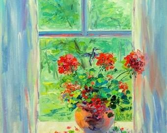 Red Geranium , Summer, Beautiful artwork, Hummingbird, Window, Natural, Bright painting, Oil painting, Original painting, Flowers, Best gift