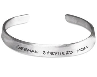 German Shepherd Mom Hand Stamped Bracelet