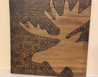 Moose Print Wood Art