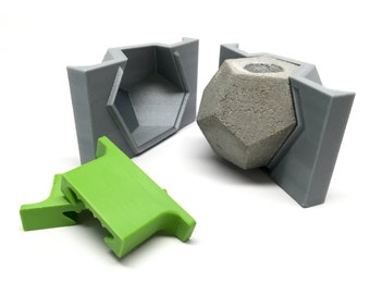 Dodecahedron Mold - 3D Printed - Geometric Mold - Cast Concrete-Resin-Wax-Soap